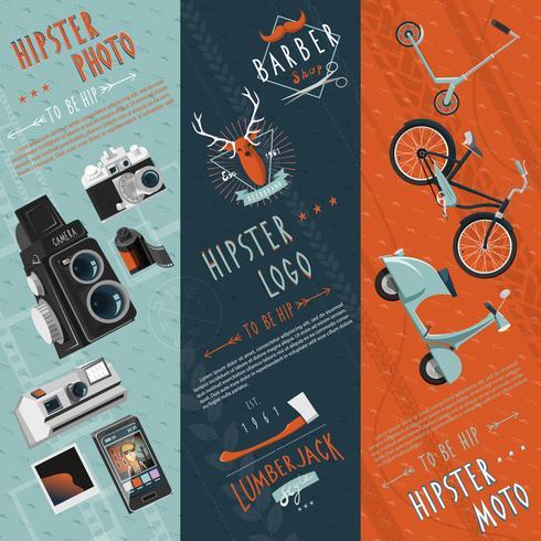 Hipster flat banners set vektor