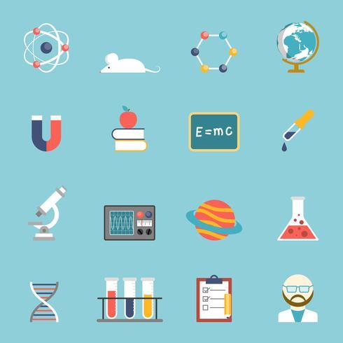 Vetenskap och forskning ikonuppsättning vektor