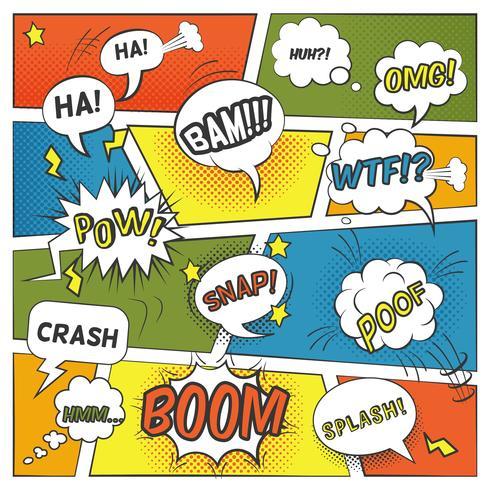 Emotionell och ljud Comic Bubbles Set vektor