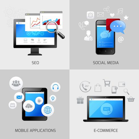 SEO Web Mobile Konzepte vektor