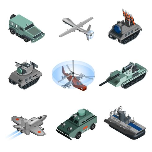 Militärische Ausrüstung isometrisch vektor