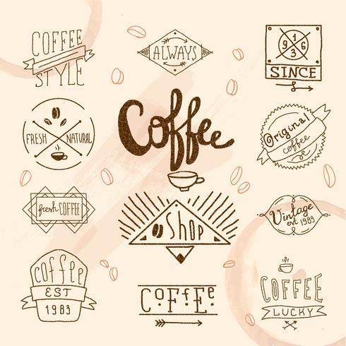 Vintage retro kaffetiketter vektor