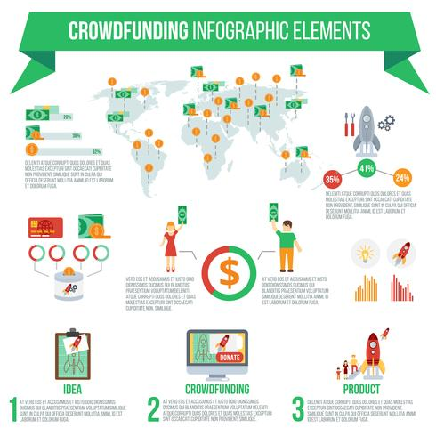 crowdfunding infographic set vektor