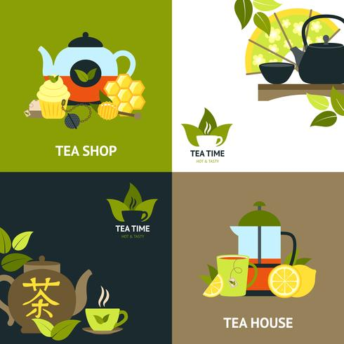 Tee-Design-Konzept-Set vektor