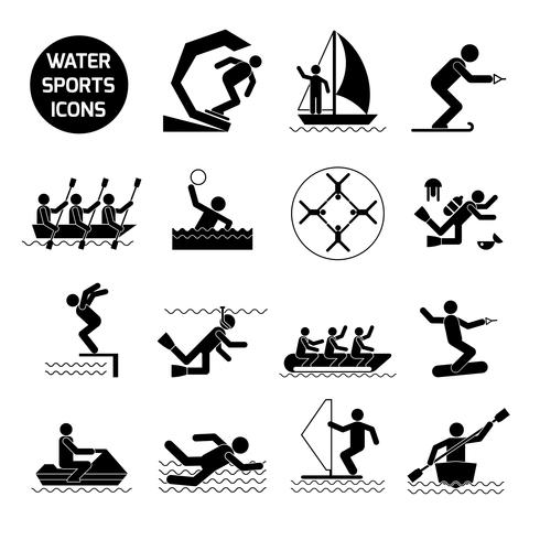Vattensporter Ikoner Svart vektor