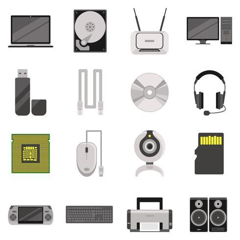 Datorkomponenter och tillbehör Icon Set vektor