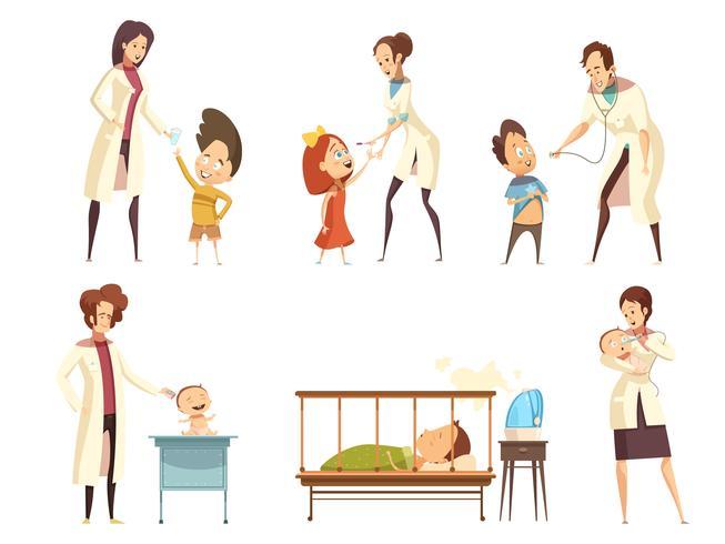 Kranker Kinderkrankenhaus-Behandlungs-Karikatur-Satz vektor