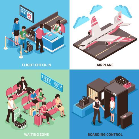 Flughafen-Abflug-Konzept-isometrisches Design vektor
