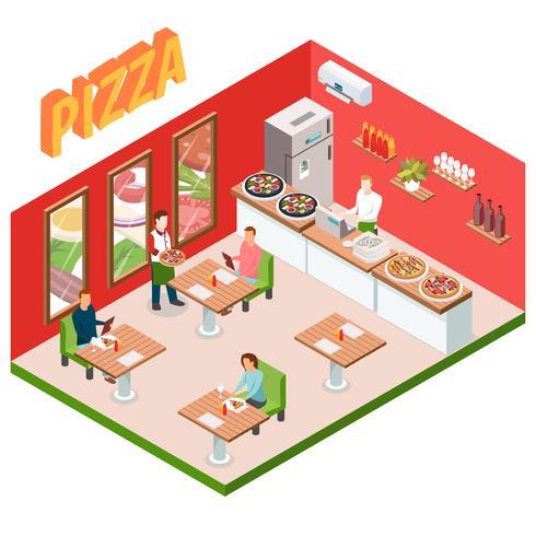 Isometrischer Pizzeria-Hintergrund vektor
