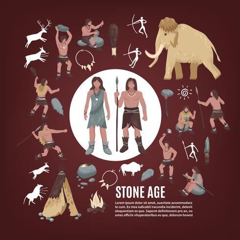 Steinzeitmenschen-Ikonen eingestellt vektor