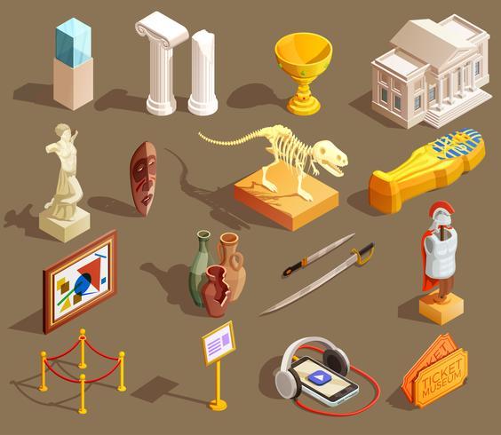 Isometrische Sammlung von Museumsartefakten vektor