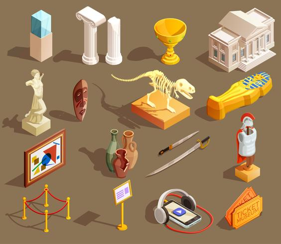 Museum Artefakter Isometric Collection vektor