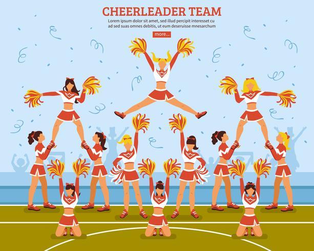 Cheerleader-Team-Stadion-flaches Plakat vektor