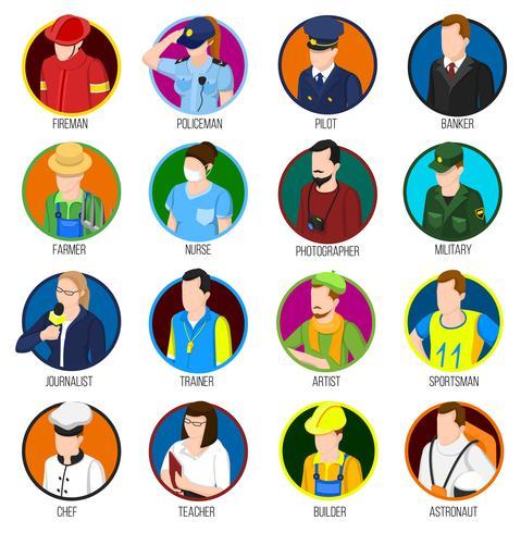 avatar professions ikonuppsättning vektor