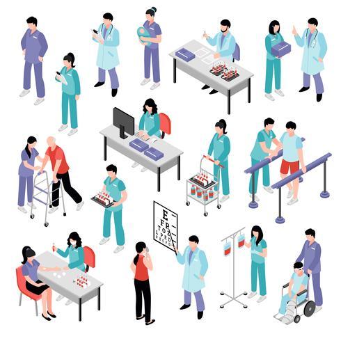 Arzt Krankenschwester Krankenhaus isometrische Set vektor
