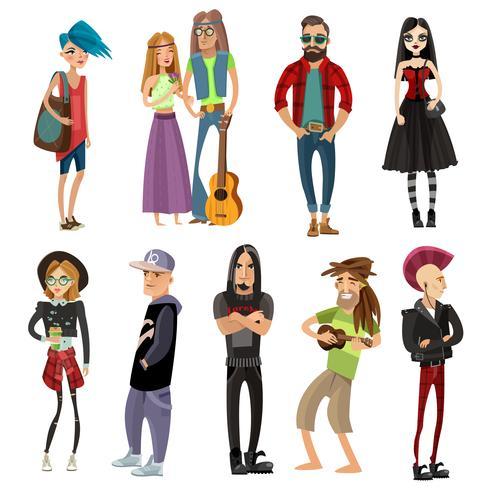 Subkulturer Människor Ställ In Cartoon Style vektor
