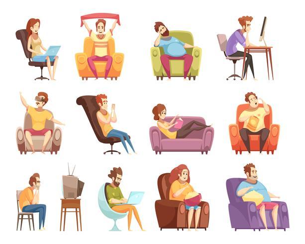 Sedentary Livsstil Retro Cartoon Ikoner Set vektor