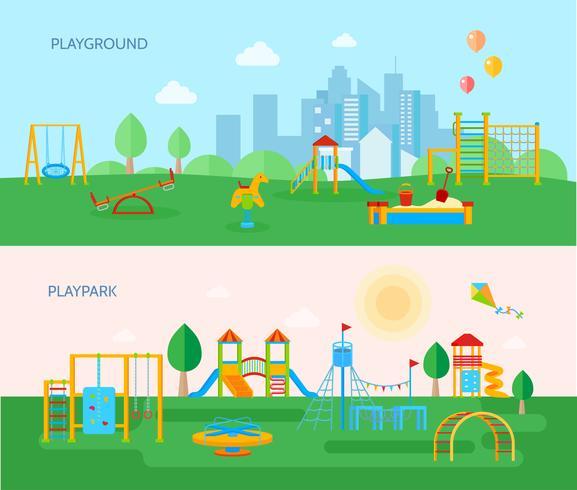 lekplats parker banderoller uppsättning vektor