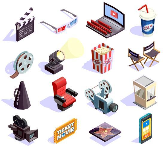 Isometriska ikoner för biograf vektor