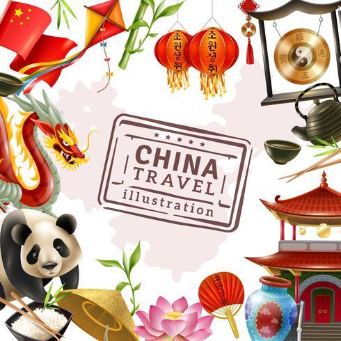 Kina Travel Frame Bakgrund vektor
