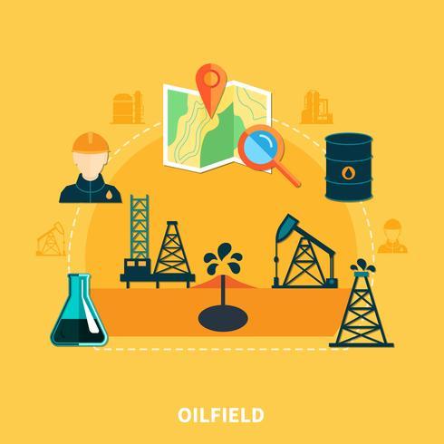 Flache Zusammensetzung der Ölansammlung vektor