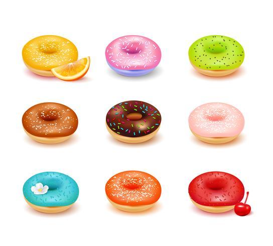 Donuts sortiment Set vektor