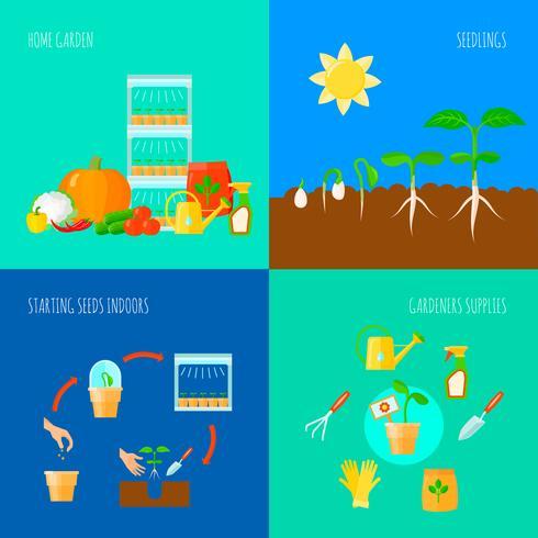 uppsättning av plantor koncept ikoner vektor