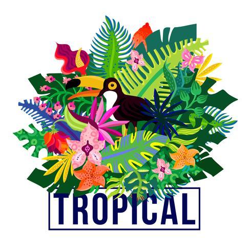 Tropiska exotiska växter Färgrik komposition vektor