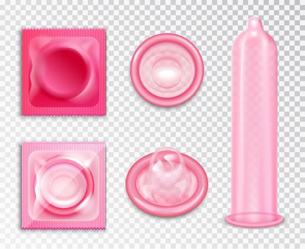 kondom realistisk uppsättning vektor