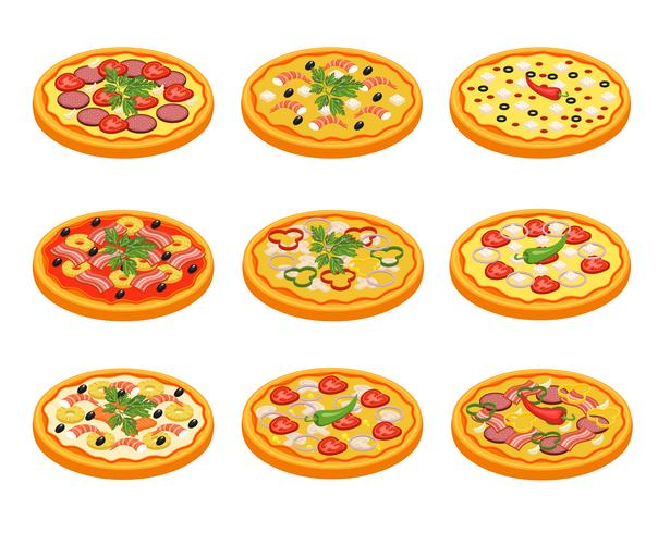 Pizza ikoner Set vektor