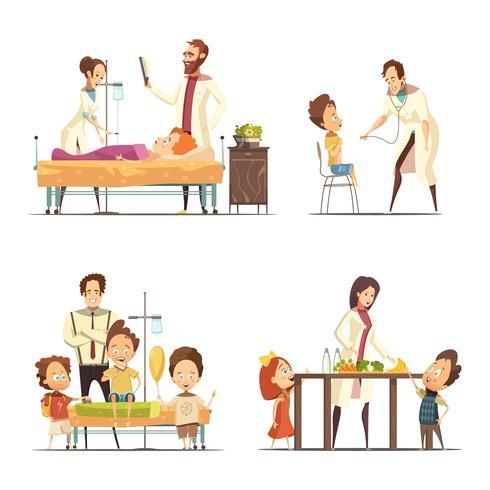 Barnsjukhus 4 Cartoon Icons Set vektor