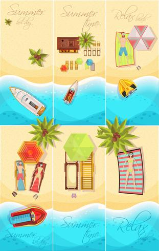 Sommerurlaub Poster Set vektor