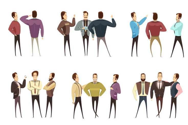 Grupper av affärsmän Cartoon Style Set vektor