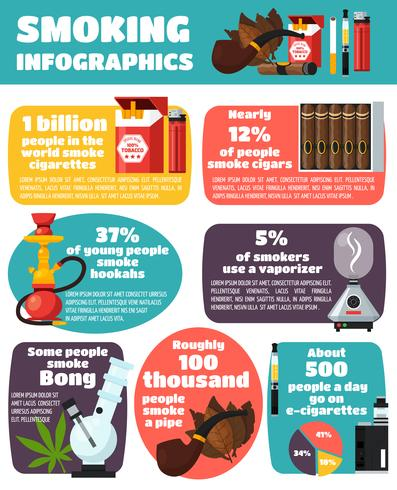 Rauchen Infografiken flaches Layout vektor