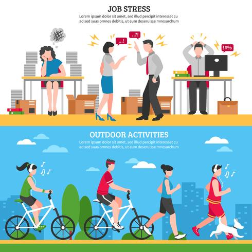 Stress och Avkoppling Banderoller vektor