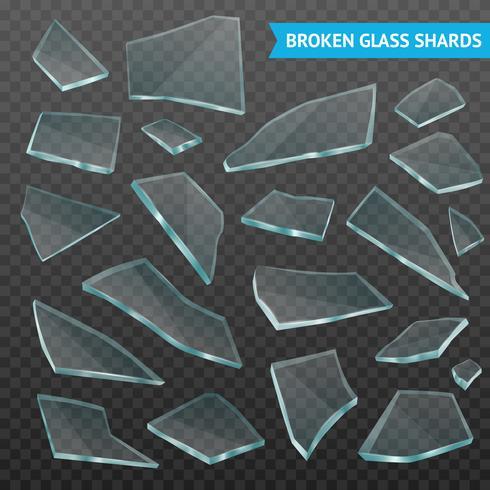 Glasfragment Realistisk Mörk Transparent Set vektor