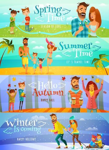 säsong familj banners vektor