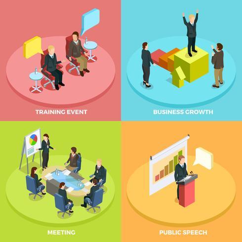 business learning isometric koncept vektor