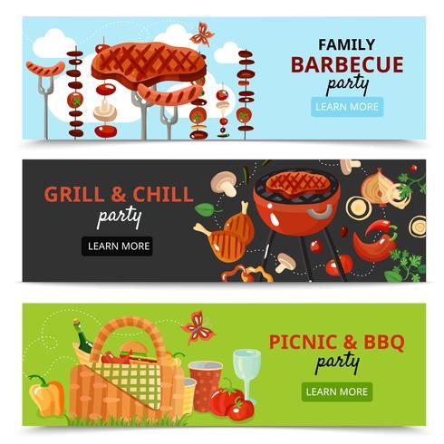Familj BBQ Party Banners vektor