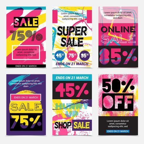 Försäljning Bright Posters Set vektor