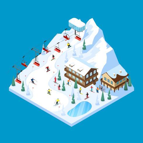 Skifahren Berg isometrische Landschaft vektor