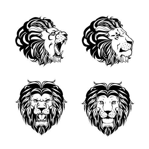 Samling av fyra gravyrer med Lion Head vektor