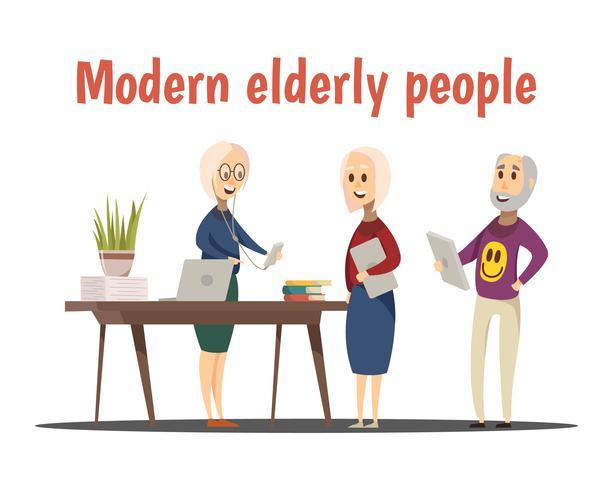 Moderna äldre människorsammansättning vektor