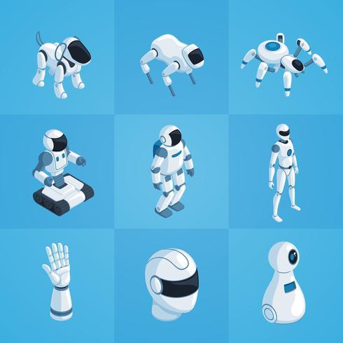 Roboter-isometrische Icons Set vektor