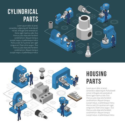 Tung industri Produktion 2 isometriska banderoller vektor