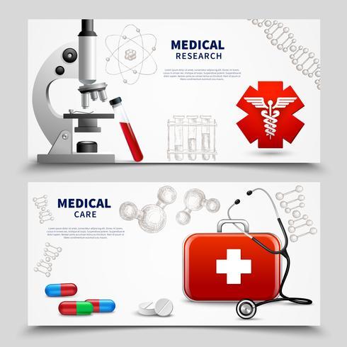 Medicinsk forskning Banners Set vektor