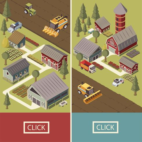 Farm Vehicles Isometric Banner vektor
