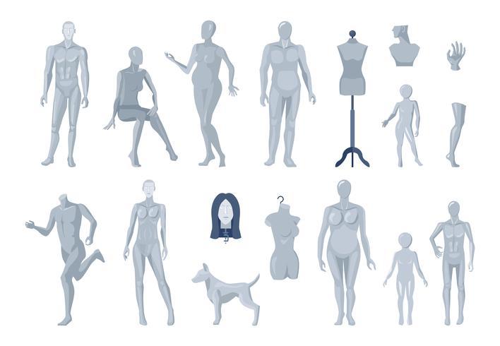 Fönster och Skräddarsy Mannequins Ikoner Samling vektor