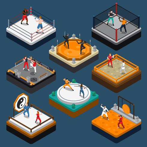 Isometric People Composition Martial Arts vektor
