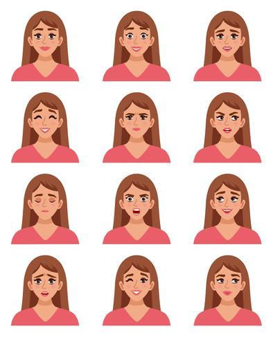 Weibliche Go-to-Gesichter vektor